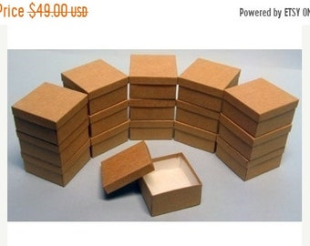 TAX SEASON Stock up 100 Pack Kraft Color Deep Cotton Filled Jewelry Retail Gift Boxes 3.5 X 3.5 X 2 Inch Size Wholesale