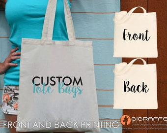 Custom Tote bags 2 sides printing - Reusable canvas tote bag front and back design - Wedding totes - Custom design -  Promotional Gift Bags