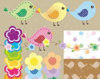 Birds and Flowers Digital Clipart/12birds 12 flowers 2 border 2 background/Polka dot/Card Design/Scrapbooking/ Web Design/ INSTANT DOWNLOAD
