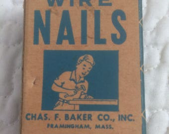 Vintage Box Of Wire Nails Farminghouse, Mass