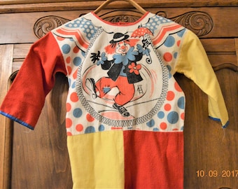 children's clown costume,Size 2 T ? maybe a 3 T Vintage 70's,Flannel Jumpsuit,Tie Back,Child's,Kid's,Toddler,Halloween Decorations