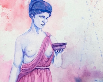 Hebe watercolor canvas painting - Greek Mythology Art