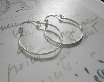 """Sterling Silver Hinged Hoops Small Hammered Silver Hoop Earrings Wire Jewelry Classic Hoops 1.5"""", 2"""", 2.5"""", 3"""""""