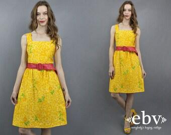Vintage Malia Dress 1970s Sundress 70s Sundress Summer Dress Yellow Dress Sundress Malia Honolulu Floral Dress 1970s Dress 70s Dress XS