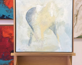 Soft Show Horse 2 - Horse painting, Equestrian canvas painting, Original fine art - Large 20x20 inches Original Acrylic Canvas Painting