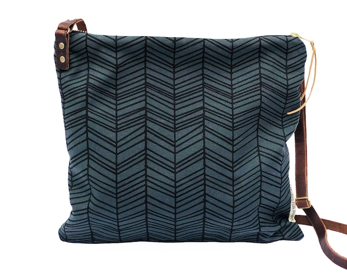 Adjustable Crossbody Bag - Sable Waxed Canvas with Herringbone Pattern