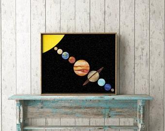 Système solaire planètes-impression impression-espace impression--enfants de l'école salle impression-Solar System-Printable Art-Home Decor-Instant Download-Wall Art déco