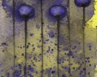 Watercolor Painting: Watercolor Flower Painting -- Art Print --  Misunderstood -- Purple Flowers on Yellow -- 5x7