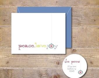 Christmas Cards, Holiday Cards, Christmas Card Set, Peace Love and Joy, Handmade, Christmas, Peace, Love, Joy