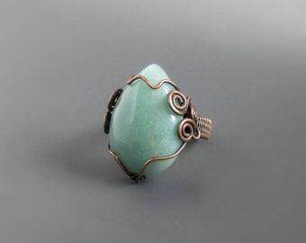 Amazonite copper ring, mint green real stone cocktail ring, rustic natural jewelry, US size 6