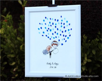 Custom Wedding Guest Book - Hand Drawn Original Art - Personalised Wedding Couple - Fingerprint & Signatures - Free Gift with Purchase
