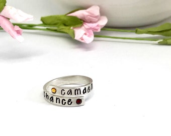 Birthstone Mothers  Rings - Personalized - Mother's Day Gift Ideas - Brushed Silver Rings - Personalized - Hand Stamped Jewelry - Rings