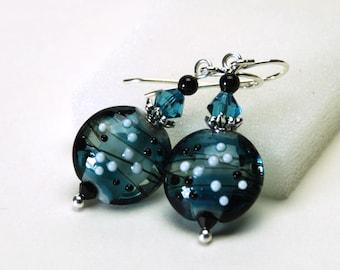 Teal Lampwork Earrings Earrings - Ocean Blue, Montana Blue Earrings with Sterling Silver Earwires