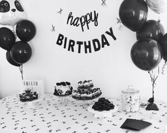 Black and White Birthday, Mantel Banner, Cursive Font, Panda Party, Happy Birthday Banner, Cursive letters,Birthday Banner, Party Photo Prop