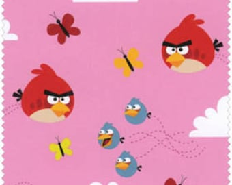 Angry Birds FLANNEL, Float On, on pink, HALF yard