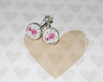 Earring pendant dahlia pink and grey