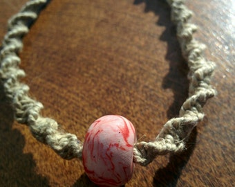 Natural Hemp Anklet with Red and White Polymer Clay Bead