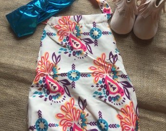 Free delivery,Color romper,Baby romper outfit,Baby cloth,Blue headband,Ivory romper