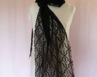 Vintage black lace shawl, Victorian lace shawl, wrap, stole, gothic lace scarf, steampunk black lace shawl, piece of  black vintage lace.