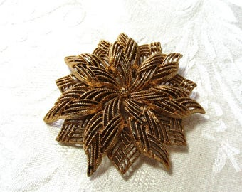 Large Monet 3D Poinsettia or Starburst Flower Brooch, Gold Tone, Vintage Item, Signed, sweater, Scarf, Lapel