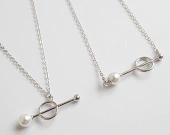 Pearl Necklace, Sterling Silver, Dainty Necklace, Minimalist Modern Necklace, Handmade Necklace, Fashion Necklace, Gift for Friend, XIEandCO