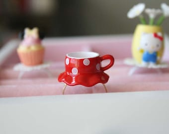 Minnie Mouse polkadots skirt teacup ring