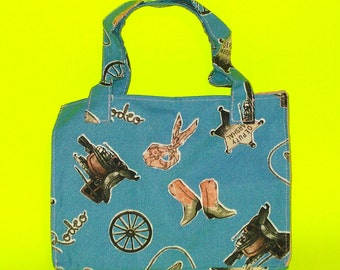 LAST ONE! Blue Rodeo - Cowboy Sheriff Old Wild West Printed Purse