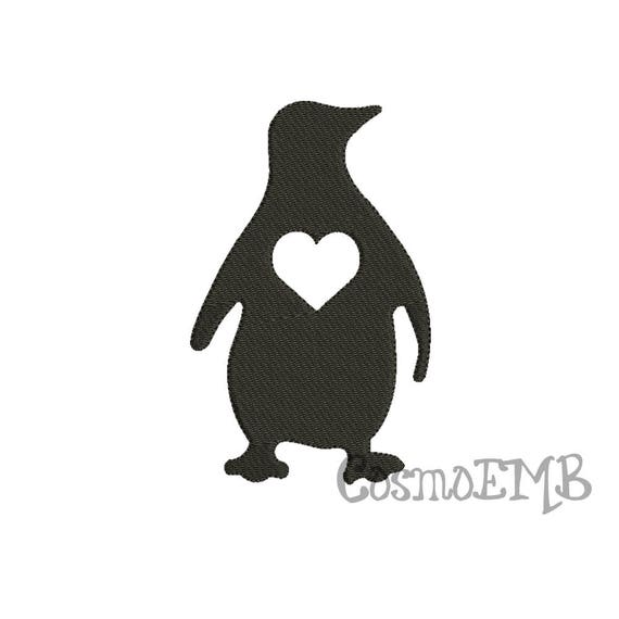 8 size penguin silhouette embroidery design machine embroidery