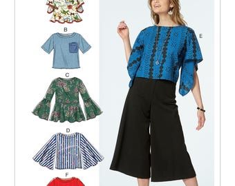 McCall's Pattern M7630 Misses' Tops with Sleeve and Hem Variations