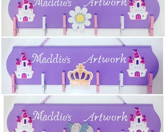 Children's Artwork Board, Kid's Artwork Display, Art Display Hanger, Kids Artwork, Princess and Castle, Personalized Art, Toy, Kids gift