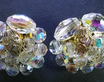 Dazzling Clip-On Earrings.  Around 1 1/8 inches in diameter.