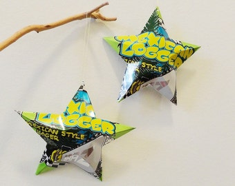 Mexican Logger Ska Brewing Co. Stars Ornaments Aluminum Can Upcycled