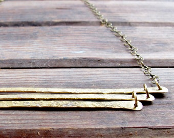 Trio Stack - Hand forged brass bar Necklace - Artisan Tangleweeds Jewelry