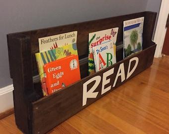 Magazine Rack, Wood Bookshelf, Kids Bookshelf, Rustic Bookshelf, Bookshelf, Hanging Bookshelf, Pallet Bookshelf