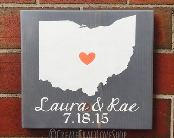 Home State Sign / Customizable / Wedding Gift / Rustic / Anniversary Gift / Gift / Home Decor / Wall Decor / Wood Sign / Gallery Wall Sign