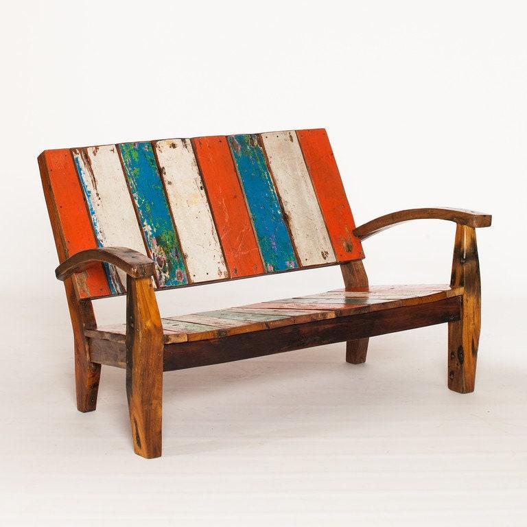 Outdoor Furniture, Reclaimed Teak Adirondack Style Sofa Made From Bali Boat Wood