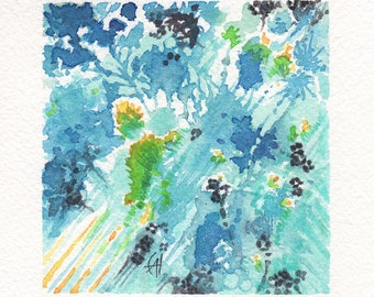 Abstract Mini Watercolor Painting - Light Blue