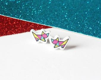 Colourful origami cat earrings, cat stud earrings, cat gifts, geometric earrings, girls earrings, cute earrings