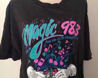 Vintage Magic 98.3 Radio Station Music Neon Tshirt