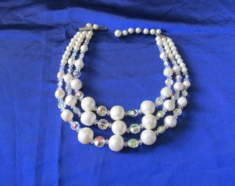 Vintage 1950s Triple strand faux pearl and aurora borealis necklace