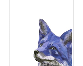 Blue Fox Watercolor Art Print, Contemporary Woodland Animal Art, Modern Farmhouse Decor, Nursery Animal Decor, Blue Wall Art