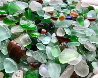 Genuine sea glass - Alaska sea glass - Real beach glass - Sea glass decor - Sea glass supply - Loose sea glass - Bulk sea glass - Beachy 8oz