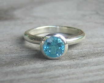 Swiss Blue Topaz Ring, Solitiare Sterling SIlver Ring Made with Recycled Metals and Blue Gemstone
