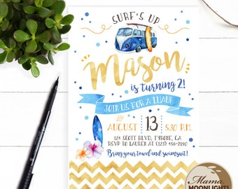 Luau Surf Hawaiian Theme Birthday Party Printable Invitation with Back Side - DIY - Older Boy Birthday Invitation Watercolor