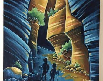 Hiking Through a Canyon; Original Oil Painting