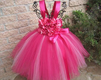 HOT PINK FLOWERS - Pink Tutu Dress -  Flower Girl Gown - Pageant Outfit - First Birthday Dress - Girls Pink Tutu Dress - Baby Girl Gift -