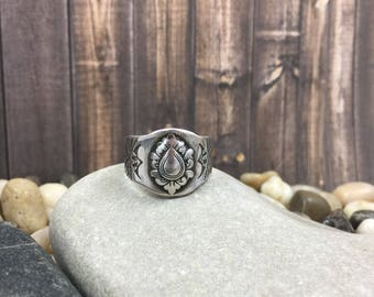 Cigar band ring, sterling silver ring, signet ring, stamped silver ring