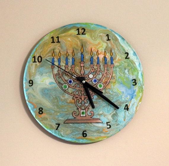 Menorah Clock, Painted On Recycled Lp.  Hanukkah Clock.  Chanukah Clock.  Judaica Clock. Judaica Decor.  Customized Clock.  # Cl 108 by Etsy