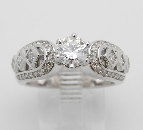 Round Brilliant Diamond Engagement Ring 14K White Gold Size 6.5