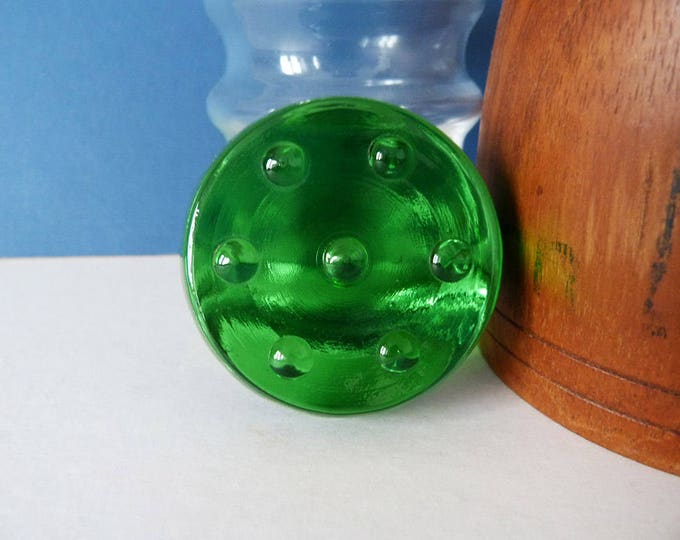 Danish Green glass nougat paperweight